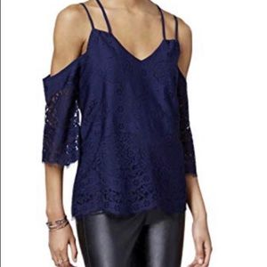 Bar III navy lace cold shoulder top